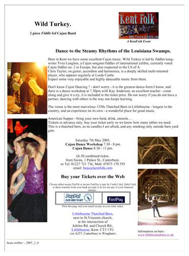 2005-05-07 Wild Turkey Spring Cajun dance Littlebourne barn poster
