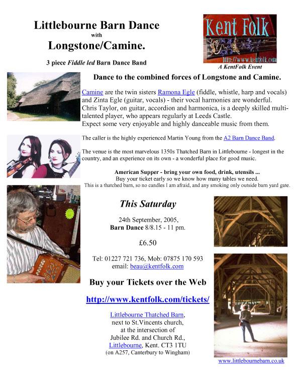 2005-09-24 Littlebourne Barn Autumn Dance poster
