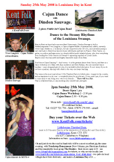 2008-05-25 Dindon Sauvage Spring Cajun dance Littlebourne barn poster